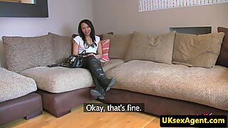 UK babe facialized after blowjob at casting