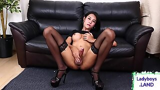 Sexy slim ladyboy with big tits solo
