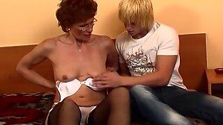 Redhead Grandma In Laced Stockings Fucks Young Dick