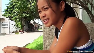 Naughty Asian teen has her tight pussy creamed by touri