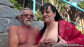 Busty grandma blows big old cock and gets cum sprayed in foursome