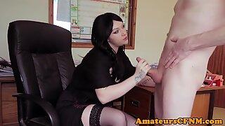 CFNM milf cocksucking in her office
