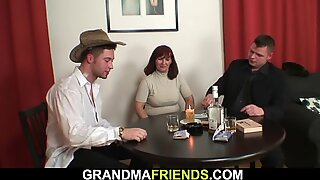 Old mature woman involved into threesome