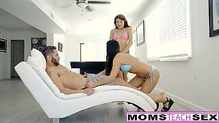 MomsTeachSex - Hot Mom And Teen fight Over Pool men bone