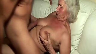 horny 76 years old granny gives a wikd tit fuck and extreme deepthroat for her young toyboy