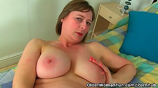 british mommy April works her twat in tights