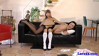 Mature in undergarments gets slapped by nubile