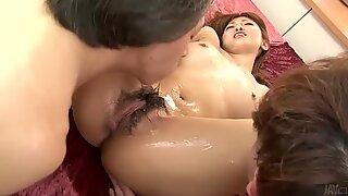 Two horny men get wild with Sayaka Fukuyama's soaking pussy