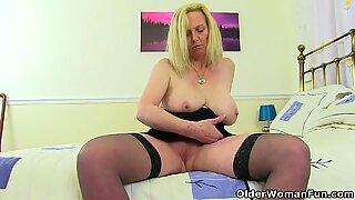 British milf Fiona fingers her soaking wet pussy