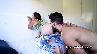Toned Latina gets hairy cunt banged