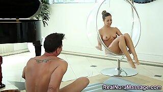 Lovely masseuse cum spray