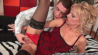 passionate senior lady works his rigid man rod