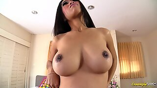 Big tit Thai beauty Panyaporn filled up with cum