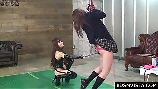 Hot japanese domina in latex educates her bound slave