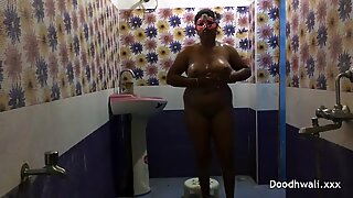 Big Boob Indian bitch Bhabhi In douche Filmed By Her husband