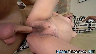 Hairy grandma gets nailed