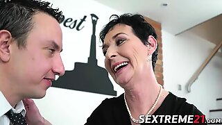 Lucky horny grandmother fairy banged on sofa by Robs hard cock