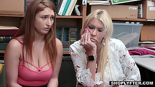 Naturally busty teen Skylar gets nailed in front of her mom