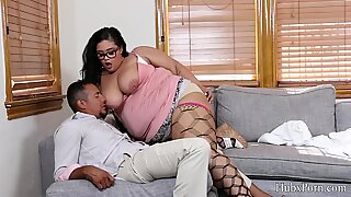 Brunette fat mature woman with cat teasing manager big cock