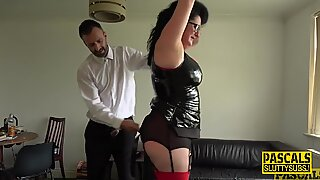 Bound chubby submissive in latex