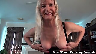 Claire disrobes off and plays with her pantyhosed twat