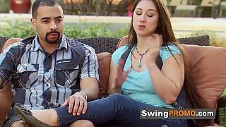 Swinger wives poledance before having a full swap in the red room