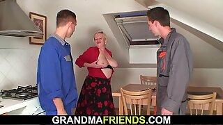 Two repairmen fuck big tits grandma