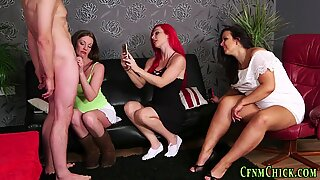 Cfnm milf watched and filmed tugging loser