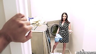Ariella Ferrera is a loving stepmom who not only takes cares of her stepsons dirty clothes but suck his cock clean too!