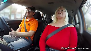 Huge tits mature bangs instructor in car