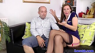Doggystyled british milf sucking hard cock