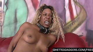 Deep Interracial BJ & drilled by toy