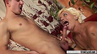 Sparkling Granny Orhidea Seduces Young White Dick