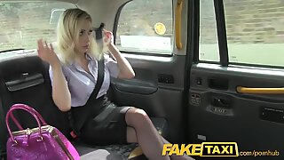 FakeTaxi Blonde with yam-sized orbs gets fucked on cab bonnet
