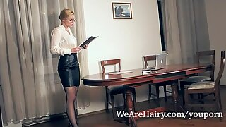 Jadeite White masturbates with a toy in her office