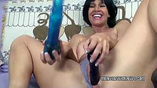 brunette cougar Melissa Swallows fucks her donk with toys