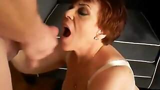 Granny in Stockings Gets Two Loads of Cum