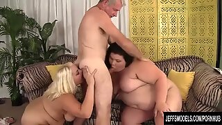 Horny BBWs Jade Rose and fleshy Jazmynne dual team a Lucky Dude