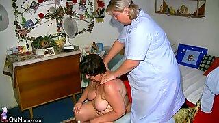 chubby grandmother and giant milf masturbating with dildo