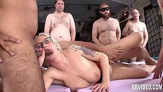 Busty german milf gets fucked in gangbang