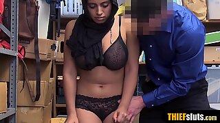 Shy chubby arab teen thief slut fucked on CCTV by a cop
