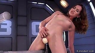 Hairy slut fucks machine in various positions