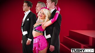 TUSHY Adriana Chechik Gets Triple Teamed And Gaped!