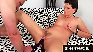 Small Tittied Mature Tart Beth McKenna Sucks and Fucks a Long Cock
