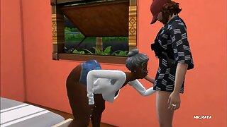 Curvy ebony granny, The Sims 4