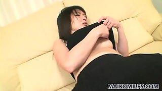 Horny Japanese girlie Harue Nomura dreams of tickling her fancy