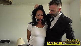 Restrained slut sucking