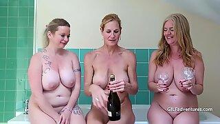 Big older boobs getting soapy, with feet fun