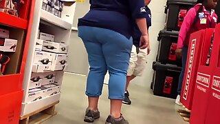 SSBBW Granny Clerk Huge Ass Caught Again