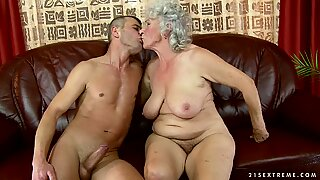 Naughty granny gets a mouthful of cupids toothpaste